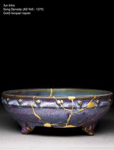 Longquan kilns Song Dynasty (AD 960 - 1279) Gold lacquer repair Presented by Sir Herbert Ingram, 1956