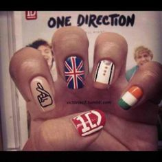 One Direction nails-Emma would love these. She loves One Direction! One Direction Nails, I Love One Direction, Louis Tomlinson, Cute Nails, Pretty Nails, Harry Styles, Hair And Nails, My Nails, Neon Nails