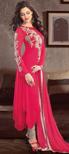 417725: #Partywear #SalwarKameez #Pink #OnlineShopping #womenswear #designer #Floral #embroidery #anarkali #Sequin #shimmer #Diwali #sale