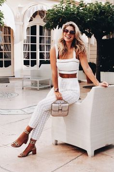 Casual two piece white summer outfit.- Tap the link now to see our super collection of accessories made just for you!
