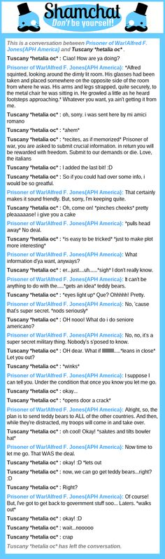 A conversation between Tuscany *hetalia oc*  and Prisoner of War!Alfred F. Jones{APH America}