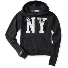 Aeropostale NY Crop Popover Hoodie ($22) ❤ liked on Polyvore