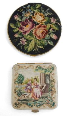 2 VINTAGE TAPESTRY ART DECO POWDER COMPACTS