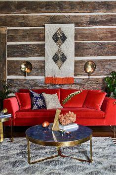 House Beautiful Living Rooms Interior Design Sofas 24 New Ideas Living Room Red, Living Room Color Schemes, Living Room Colors, Living Room Modern, Interior Design Living Room, Red Interior Design, Cafe Interior, Interior Ideas, Sofa Design