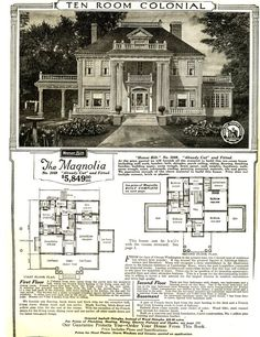The Magnolia, c. 1918. Model house available through Sears. Roebuck and Company catalog. Architecture - Neoclassical Revival.