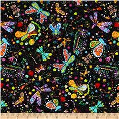 Timeless Treasures Mexican Joy Butterflies & Dragonflies Black