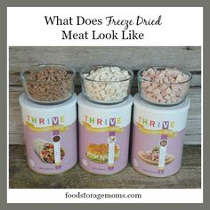 """Have you ever wondered """"what does freeze dried meat look like"""" in those cans or pantry cans at the food storage companies or online? Thrive Food Storage, Lds Food Storage, Food Storage Containers, Storage Ideas, Kitchen Storage, Storage Solutions, Freeze Dried Meat, Freeze Drying Food, Prepper Food"""
