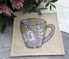 Handmade Leaf Mug Linen Fabric Drink Coaster - Embroidered Applique by The Cornish Coaster Company on Gourmly