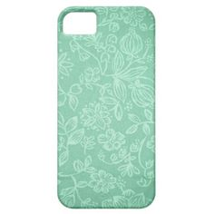 Mint Green With Floral Texture iPhone 5 Cover