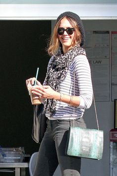 Casual Outfit: Grey/Gray....leopard print scarf + stripe shirt + skinnies