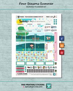 Free Planner Stickers Monthly Kit // Four Seasons Summer - Sepiida Prints