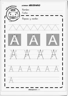 """Cuaderno de escritura """"Abecedario"""", de Eva Barceló y publicado educaplanet, para trazar todas las letras mayúsculas del abecedario."""