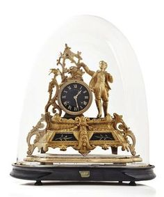 VICTORIAN GILTMETAL MANTEL CLOCK  19TH CENTURY  with circular black dial, with giltmetal cast case on a stepped base, within glass dome  33cm high