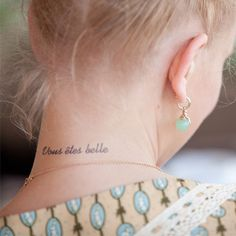 vous êtes belle tattoo at inkbox- temp tattoos that last a few weeks to make a decision