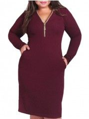 Assorted Colors Classical V Neck Plus Size Bodycon Dress