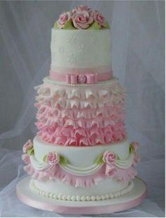 Tartas de boda - Wedding Cake - Pink and White Cake Beautiful Wedding Cakes, Gorgeous Cakes, Pretty Cakes, Cute Cakes, Amazing Cakes, Ruffle Cake, Ruffles, Elegant Cakes, Girl Cakes