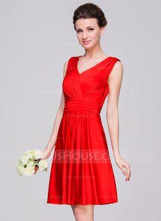 A-Line/Princess V-neck Knee-Length Jersey Bridesmaid Dress With Ruffle Bow(s) (007059448) - JJsHouse