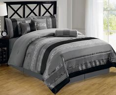 7-piece Contemporary Metallic Silver Gray Black Chenille Comforter Set King