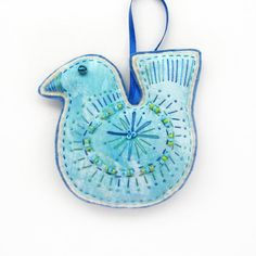Bird Ornament / Decoration- Blue on Etsy, $11.95