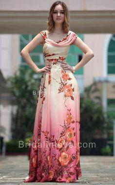 A-line Cowl Floor Length Georgette Jacquard Prom Dress