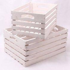 Dřevěné bedýnky E bílé 2 Ks