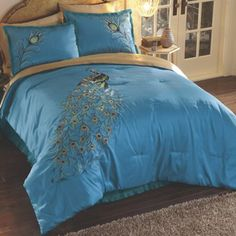 Purple 'Peacock' bedding set