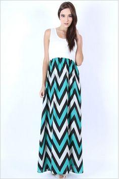 Chevron Blues Dress, $38 – mimosaalley.com