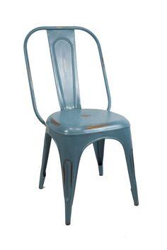 Silla estilo industrial de color azul replica Tolix. Circus Chair.