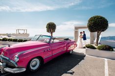 A cliff side #wedding in #Santorini is an ideal location for your #Destinationwedding . Make it even more special, by adding an original vintage car! Special Thanks to Sergey Drobodenko - http://www.drobotenkos.com/ and Marvellous Weddings - http://marvellouswedding.com/ for the cooperation!