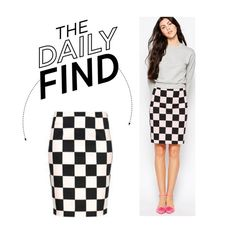 """""""The Daily Find: Love Moschino Checkered Skirt"""" by polyvore-editorial ❤ liked on Polyvore featuring Love Moschino, women's clothing, women, female, woman, misses, juniors and DailyFind"""