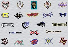 Vector art logos of the former XFL American Football League Teams. East: Orlando Rage, Memphis Maniacs, NYC Hitmen, Birmingham Thunderbolts; West: Los Angeles Xtreme, Chicago Enforcers, San Francisco Demons and the Las Vegas Outlaws. The team logos and trademarks are property of the football teams. All Rights Reserved.