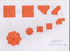 gardenia Origami Design, Diy Origami, How To Do Origami, Gato Origami, Origami And Kirigami, Origami Paper Art, Origami Folding, Paper Crafts, Origami Flowers Tutorial