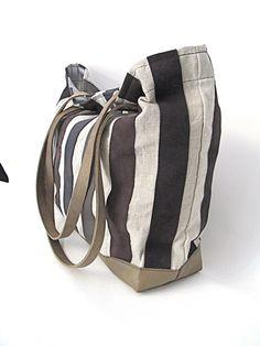 Ledertaschen - Leinentasche, Einkaufstasche, Shopper, Weekender - ein Designerstück von motten-helle bei DaWanda