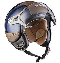 Retro Motorcycle Helmets, Biker Helmets, Motorcycle Style, Motorcycle Gear, Riding Helmets, Vespa Retro, Retro Caravan, Vespa Helmet, Café Race