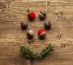 Hey, I found this really awesome Etsy listing at https://www.etsy.com/listing/203024960/felted-acorn-christmas-ornaments-red-and