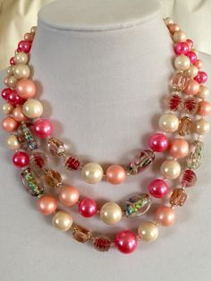 Pretty in pink pearl & art glass triple strand 1950s beaded necklace beautiful! by GiosGems1 on Etsy