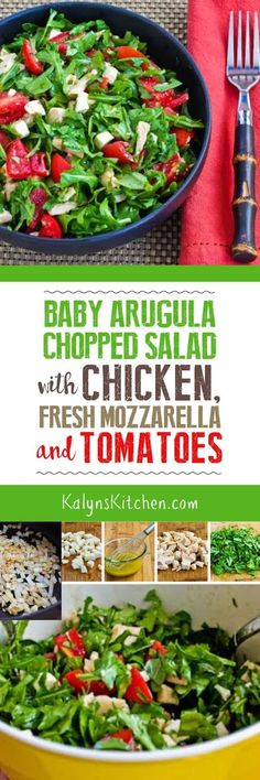 Low FODMAP Baby Arugula Chopped Salad with Chicken, Fresh Mozzarella, and Tomatoes from KalynsKitchen.com