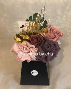 A elegant 2 hijab bouquet, made up of a mauve viscose and a soft pink silk hijab adorned with flowers,accessories and ferrero rocher chocolates A stunning hajj Mubarak gift. Scarf Packaging, Hajj Mubarak, Ferrero Rocher Chocolates, Ad Photography, Hijab Fashionista, Islamic Gifts, Hijabs, Flower Boxes, Pink Silk