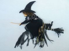 Cute FELT WITCH perfect Halloween decoration at your by Anukat