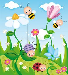 Illustration about Illustration of flower field and insects. Illustration of clouds, spider, bees - 10140085 Kids Wall Murals, Murals For Kids, Art For Kids, School Painting, Painting For Kids, Art Drawings For Kids, Drawing For Kids, Diy And Crafts, Crafts For Kids
