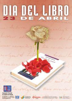 Cartel de la Asociación Provincial de Libreros de Alicante, la Generalitat Valenciana y otras instituciones para celebrar el día del libro.