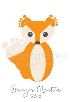 Woodland Nursery Decor Art Print Set Baby Footprint Bear Owl