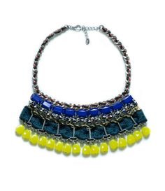 Image 1 of METALLIC FABRIC NECKLACE WITH STONES from Zara