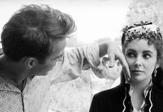 "Elizabeth Taylor and Montgomery Clift on the set of ""Raintree County"""