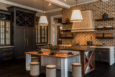 Rustic Kitchen Ideas. Non white rustic kitchen design. Non white rustic kitchen with brick backsplash and floating shelves #NonwhiteKitchen #rustickitchen  Palmetto Cabinet Studio