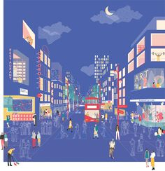 An illustrated view of 'A future for the Oxford Street district' at night