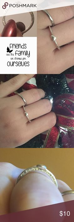 """Juicy Couture Heart Ring Juicy Couture heart ring. Sterling Silver. Side of ring says, """"friends are family we choose for ourselves."""" Normal wear but no tarnishing, still good condition! Juicy Couture Jewelry Rings"""