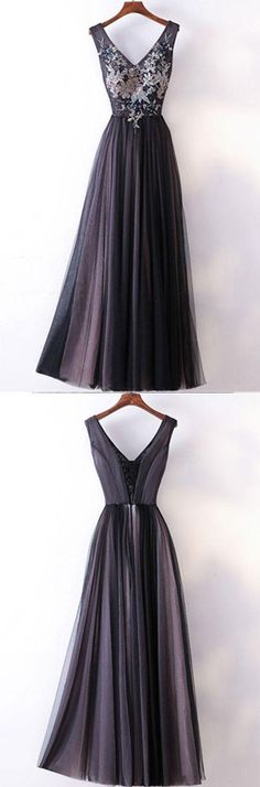 Long Prom Dresses Straps V-neck A-line Embroidery Sexy Black Prom Dress PG554 #longpromdresses #pgmdress