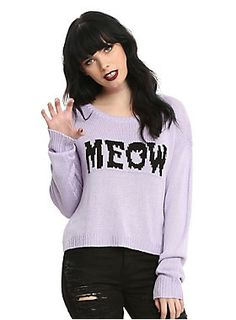 """<div>You're kitten yourself if you think you look anything but purr-fect in this sweater. The lavender sweater has a """"Meow"""" instarsia knit text design on front. Pair it with jeans or a skirt - either way you'll look pawesome.</div><div><ul><li style=""""list-style-position: inside !important; list-style-type: disc !important"""">100% acrylic</li><li style=""""list-style-position: inside !important; list-style-type: disc !important"""">Wash cold inside out gentle cycle; dry flat</li><li style=""""list..."""