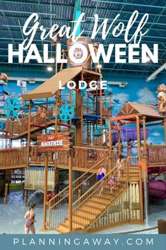 """Are you thinking about going to the Great Wolf Lodge Halloween celebration? Awesome! You will love the """"Howl-o-Ween"""" twist at Great Wolf Lodge. I am excited to tell you all about the Great Wolf Lodge activities. Great Wolf Lodge is one of the best family friendly hotels in the USA. It includes an indoor water park and many exciting adventures and activities your kids will love! Let's explore all the fun things to do at Great Wolf Lodge during Halloween! Fair Grounds, Halloween, Fun, Travel, Viajes, Destinations, Traveling, Trips, Spooky Halloween"""
